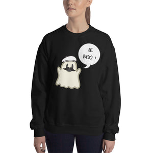 "Halloween Spoofy-Spooky Bilingual Ghost saying ""Le boo"" Sweatshirt - UNISEX"