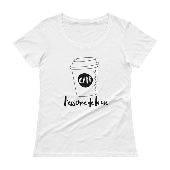 Cafe/Coffee - Essence de la vie LADIES' Scoopneck T-Shirt