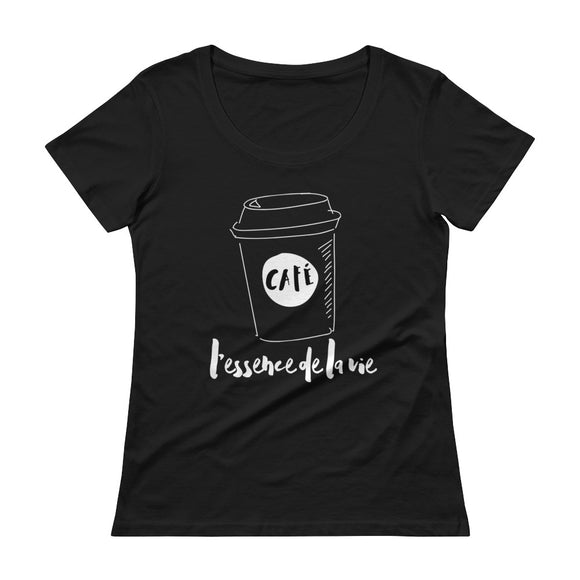 Cafe/Coffee - Essence de la vie LADIES' Scoopneck T-Shirt BLACK
