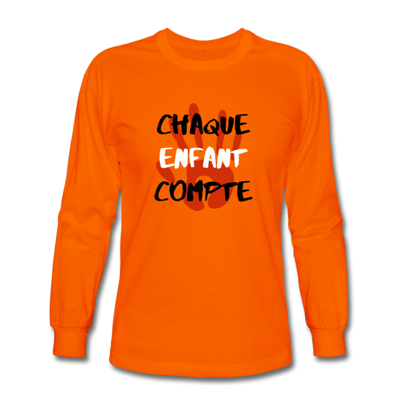 Chaque Enfant Compte (avec main) - Men's Long Sleeve T-Shirt - orange