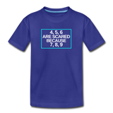 4, 5, 6 are scared because 7, 8, 9 - Kids' Premium T-Shirt - royal blue