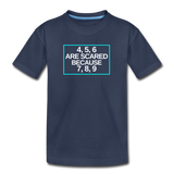 4, 5, 6 are scared because 7, 8, 9 - Kids' Premium T-Shirt - navy