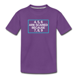 4, 5, 6 are scared because 7, 8, 9 - Kids' Premium T-Shirt - purple