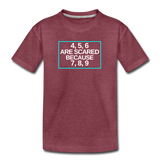 4, 5, 6 are scared because 7, 8, 9 - Kids' Premium T-Shirt - heather burgundy