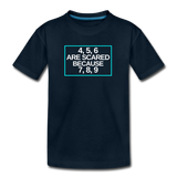 4, 5, 6 are scared because 7, 8, 9 - Kids' Premium T-Shirt - deep navy