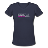 Instant subtraction - Women's V-Neck Math T-Shirt - navy
