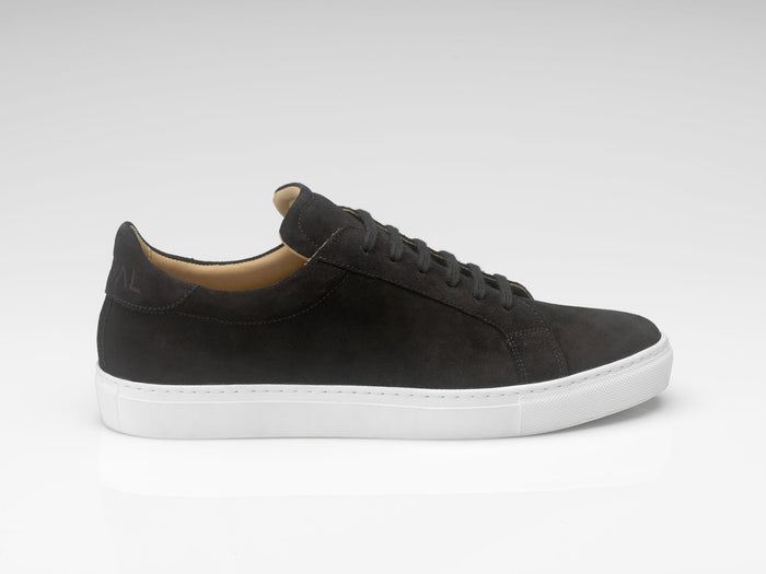 mens black suede sneakers with white soles