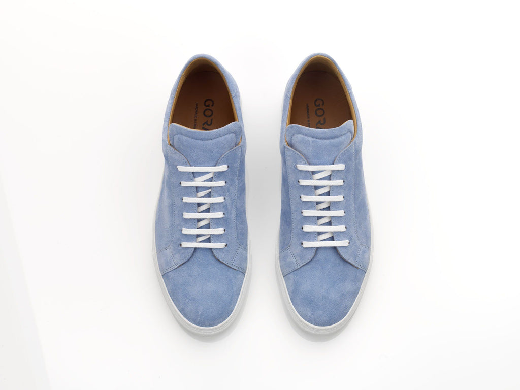mens blue suede sneakers with white soles