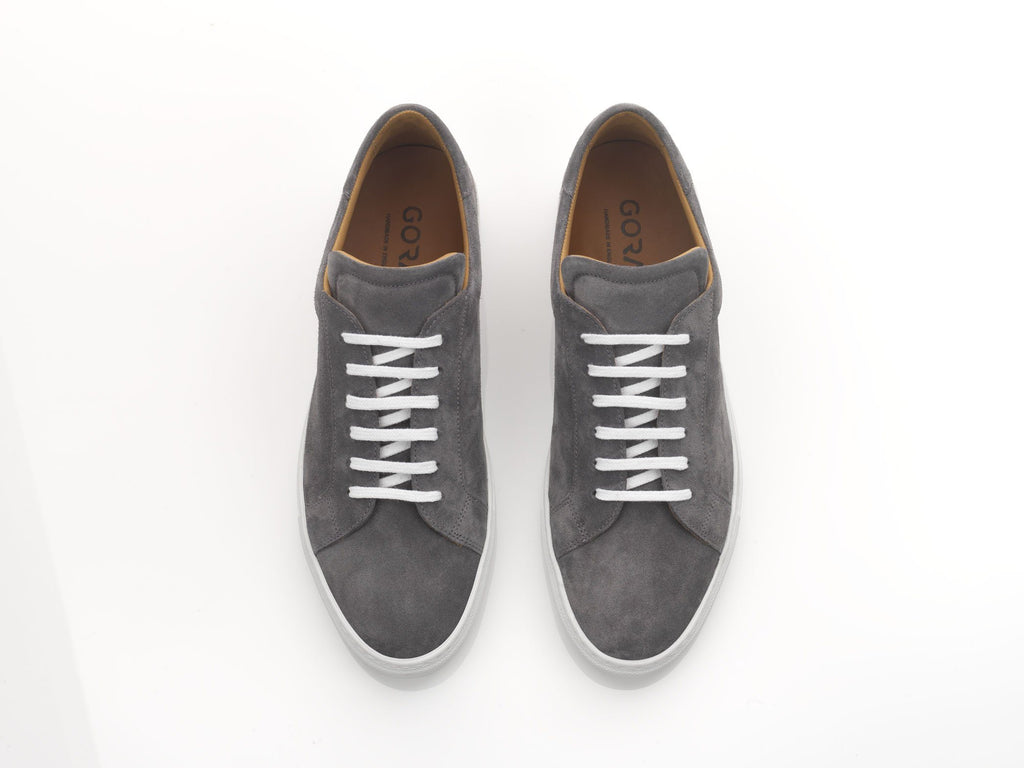 mens grey suede sneakers with white rubber soles