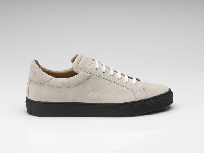 mens off-white suede sneakers with black soles