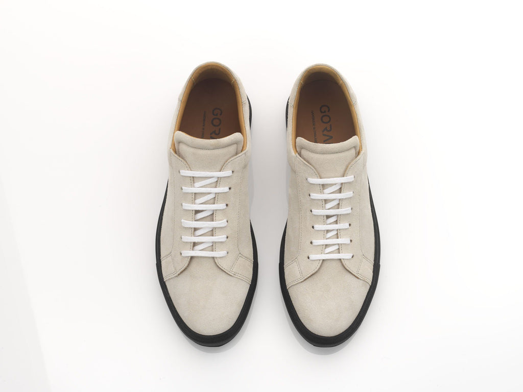 mens off-white suede sneakers with blacks oles