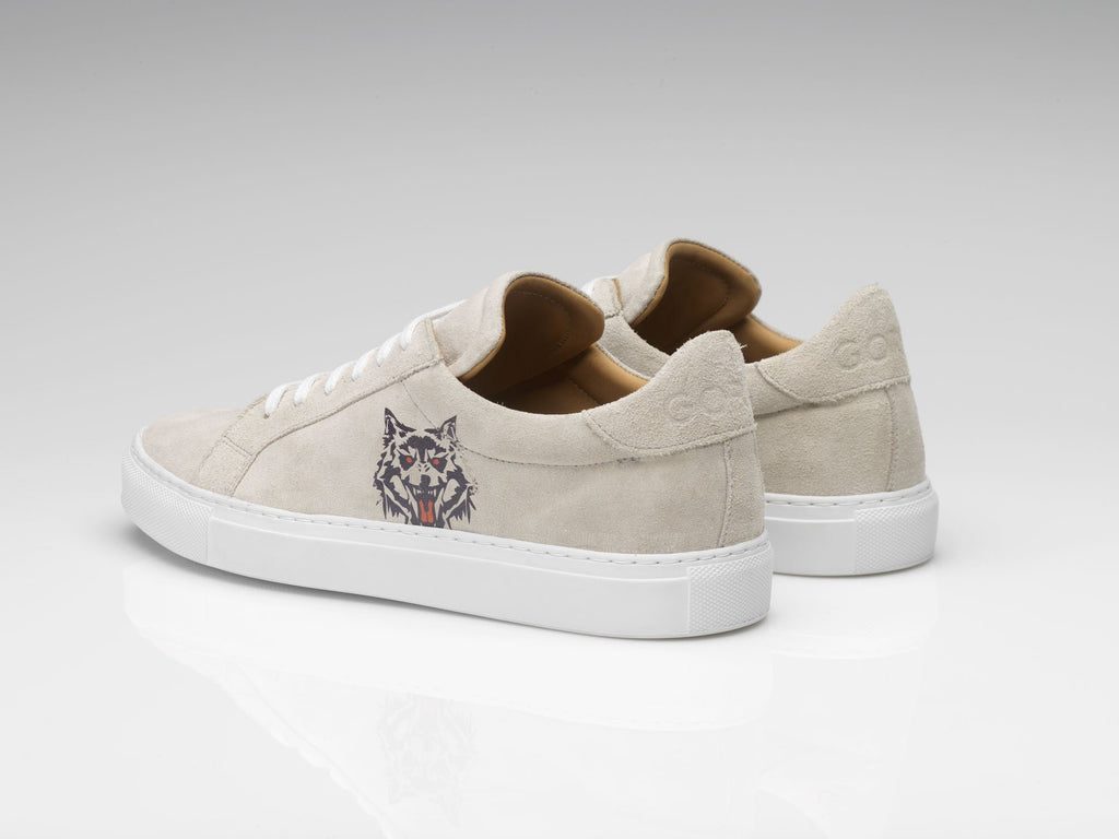 wolf print suede sneakers with white rubber soles