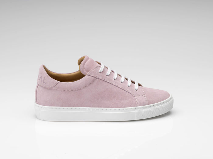 pink suede sneakers with white rubber soles