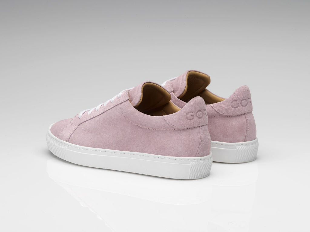 mens pink suede sneakers with white rubber soles
