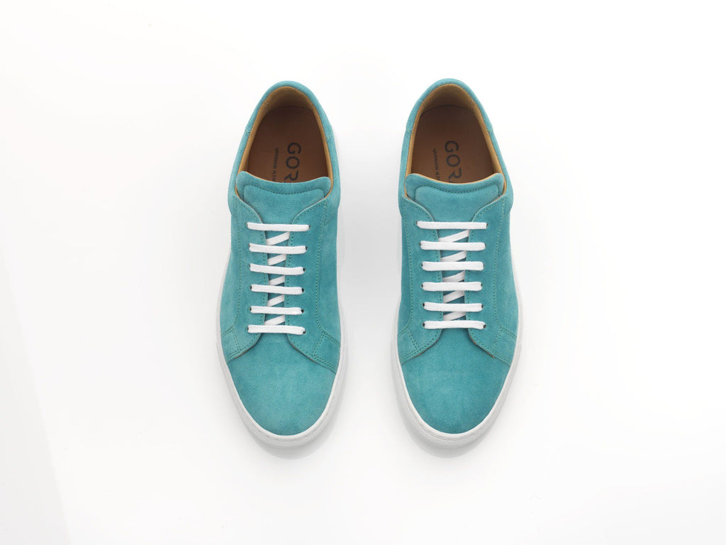 mens teal suede sneakers with white rubber soles