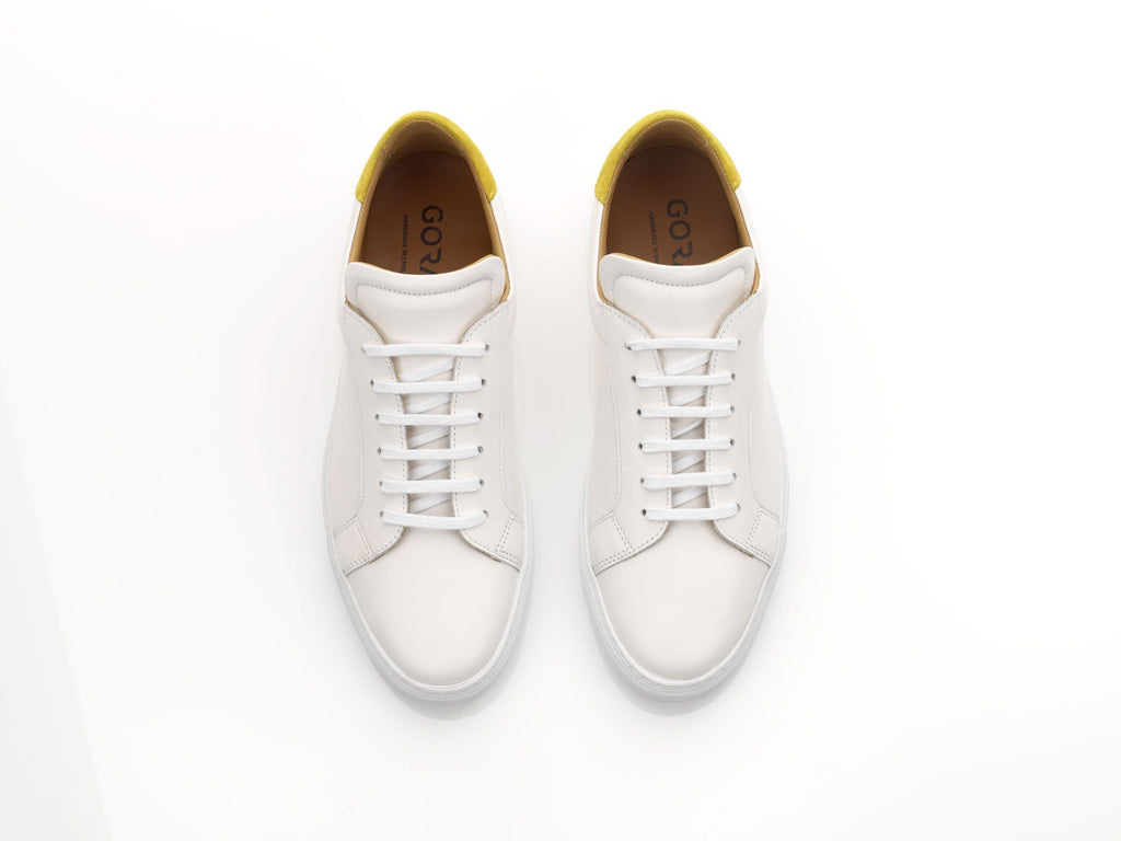 mens white yellow suede sneakers with white rubber soles