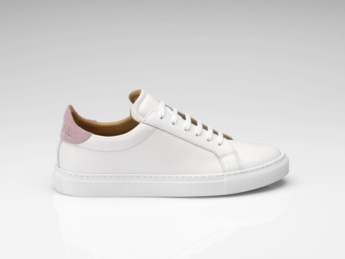 mens white pink suede sneakers with white rubber soles