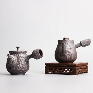 Retro Firewood Rust Side Handgrip Teapot - two designs available - The Teapot Store