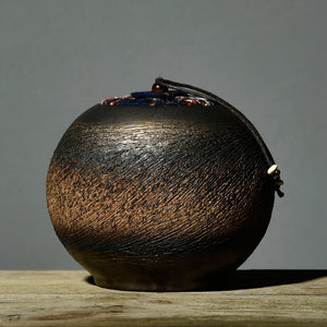 Japanese Style Vintage Look Coarse Pottery Round Tea Canister - The Teapot Store