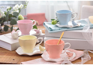 Elegant Pastel Bird Bone China Tea Cup and Saucer Set 220ml - four colours available - The Teapot Store