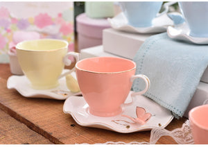 Elegant Pastel Bird Bone China Tea Cup and Saucer Set 220ml - four colours available