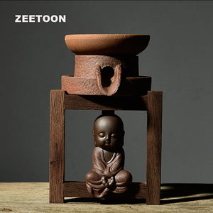 Zen Vintage Coarse Pottery Tea Strainer with Stand (with/without monk) - The Teapot Store