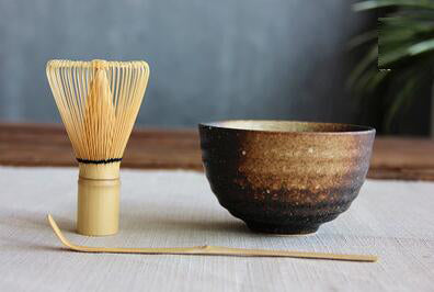 Matcha Mixing Set - Vintage Look Ceramic Bowl, Natural Bamboo Whisk and Scoop