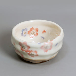 Japanese Sakura Style Handmade Pottery Matcha Bowl with Hand Painted Flowers - The Teapot Store