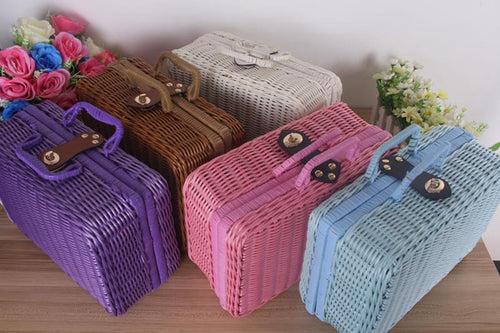 Vintage Handmade Rattan Weave Portable Tea Set Carry Case (three different colours) - The Teapot Store