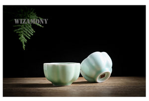 Chinese Longquan Celadon Plum Blossom 75ml Tea Cup - two colours available - The Teapot Store