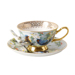 Unique Vintage Look Bone China Tea Cup, Saucer and Spoon Set - Blue Bird - The Teapot Store