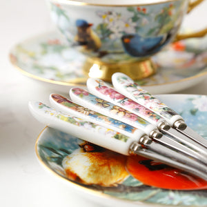 Unique Vintage Look Bone China Tea Cup, Saucer and Spoon Set - Rooster - The Teapot Store