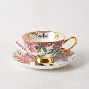 Unique Vintage Look Bone China Tea Cup, Saucer and Spoon Set - Pink Floral - The Teapot Store