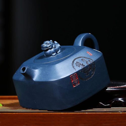 Yixing Ore Azure Mud 220 ml Handmade Kung Fu Teapot - The Teapot Store
