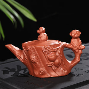 Yixing Zisha Monkey Tree Purple Clay Teapot - The Teapot Store