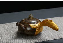 JIA-GUI LUO Ceramic Glazed Celadon Handmade Fish Handle Teapot - two colours - The Teapot Store