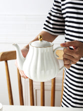 MUZITY Pumpkin Shape Hand Painted Bone China Teapot With Tea Strainer - three colours available - The Teapot Store