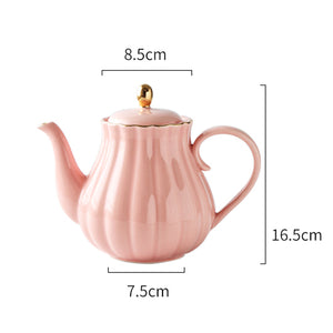 MUZITY Pumpkin Shape Hand Painted Bone China Teapot With Tea Strainer - three colours available
