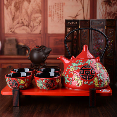 Traditional Chinese Red Bulb Tea Set - The Teapot Store