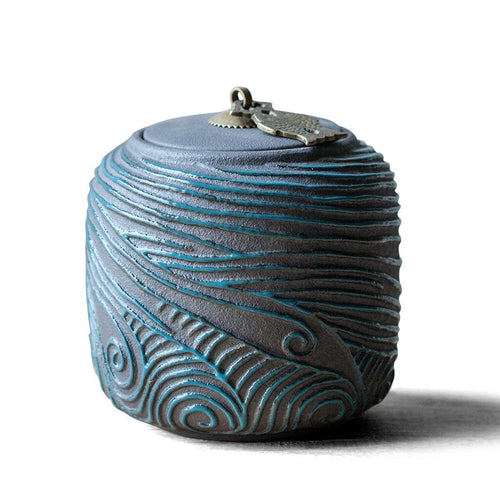 Unique Design Japanese Style Rough Pottery Tea Canister - six designs available - The Teapot Store