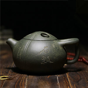 Yixing Zisha Green Mud 300ml Teapot with Bowling Lid