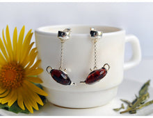Handmade 925 Sterling Silver Natural Amber Teapot Drop Earrings - two colours available