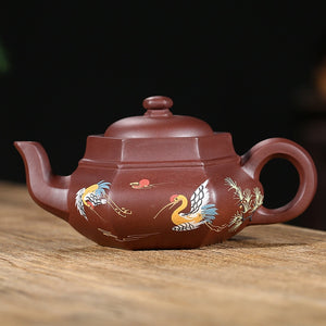Yixing Purple Clay Handmade Teapot with Hand Painted Stork Design