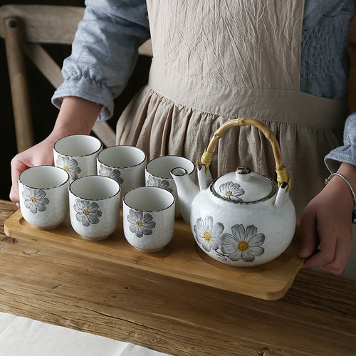 Rustic Six Person Japanese Style Flower Tea Set - eight designs available