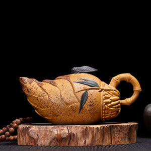 Rare Pinny 300ml Handmade Yixing Purple Sand Bamboo Shoot Design Teapot