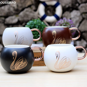 Oussirro Round Golden Swan Tea Cup - four designs available