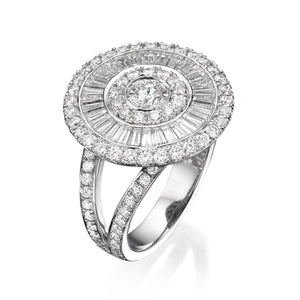 Round Diamond ring with baguette diamonds - sun collection