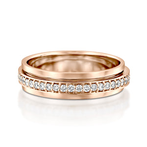 RTUB1339-18k Gold Rose diamond spinner ring for women