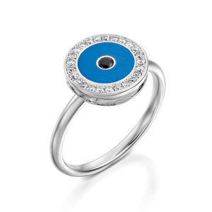 RO9004-18k white  gold Diamond Evil eye ring