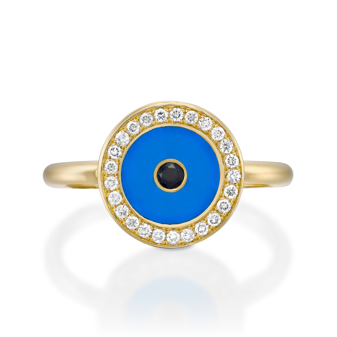RO9004-Yellow gold Diamond Evil eye ring